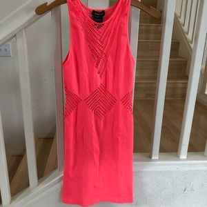 Bebe neon orange bodycon stretchy dress